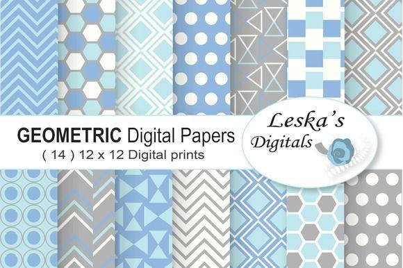 Geometric Digital Paper Blue & Grey @creativework247