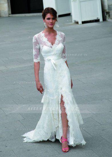 Vintage V Neck Half Sleeved A-line Front Split Lace Wedding Dress ...