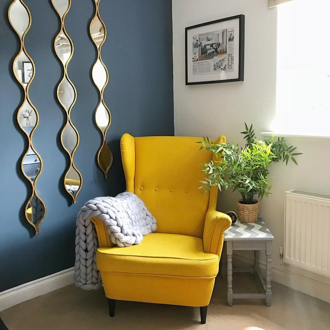 Gorgeous Bright Yellow Chair With A Grey Chunky Knit Blanket