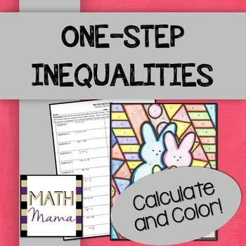 One Step Inequalities Math With Color Math Middle School