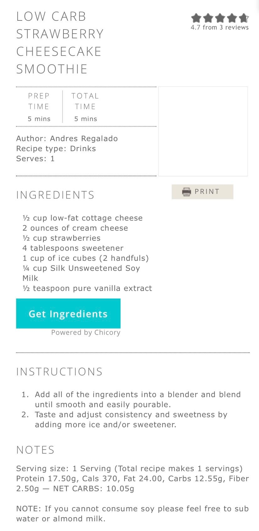 Low carb strawberry shortcake smoothie | Smoothie prep ...