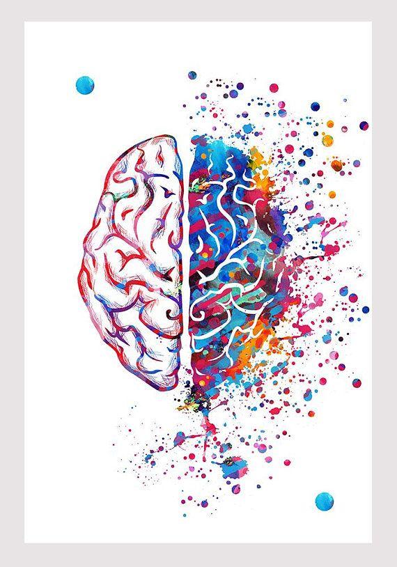 Right Brain Left Brain Watercolor Print Brain Art Poster Creative ...