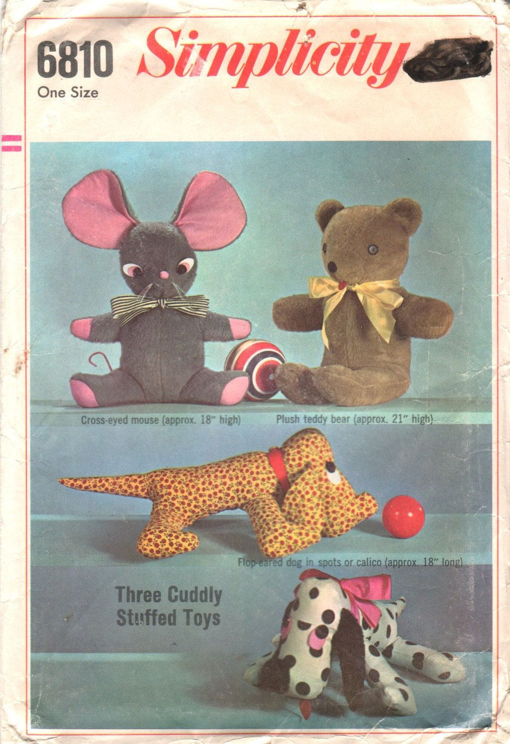 Vintage 60s uncut sewing pattern three cuddly stuffed animals vintage 60s uncut sewing pattern three cuddly soft toys simplicity 6810 mouse dog teddy bear jeuxipadfo Choice Image