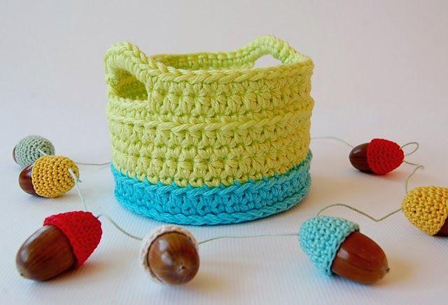 Crochet basket - link to free tutorial | Cestas ganchillo-trapillo ...