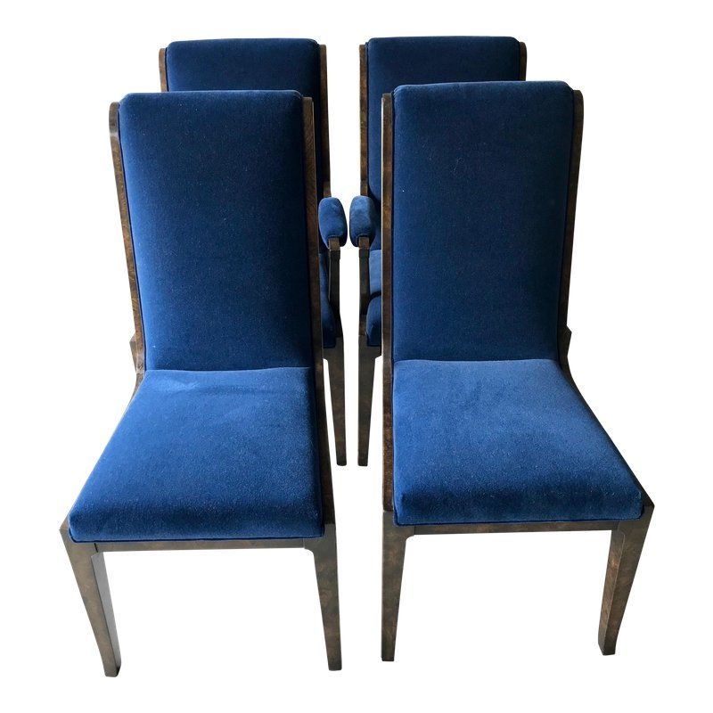 Admirable Mid Century Modern Blue Velvet Dining Chairs Set Of 4 In Gmtry Best Dining Table And Chair Ideas Images Gmtryco