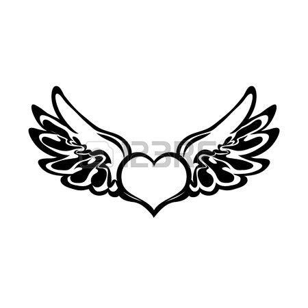 Aile D Ange Dessin Tatouage De Coeur Vecteur Illustration Aile