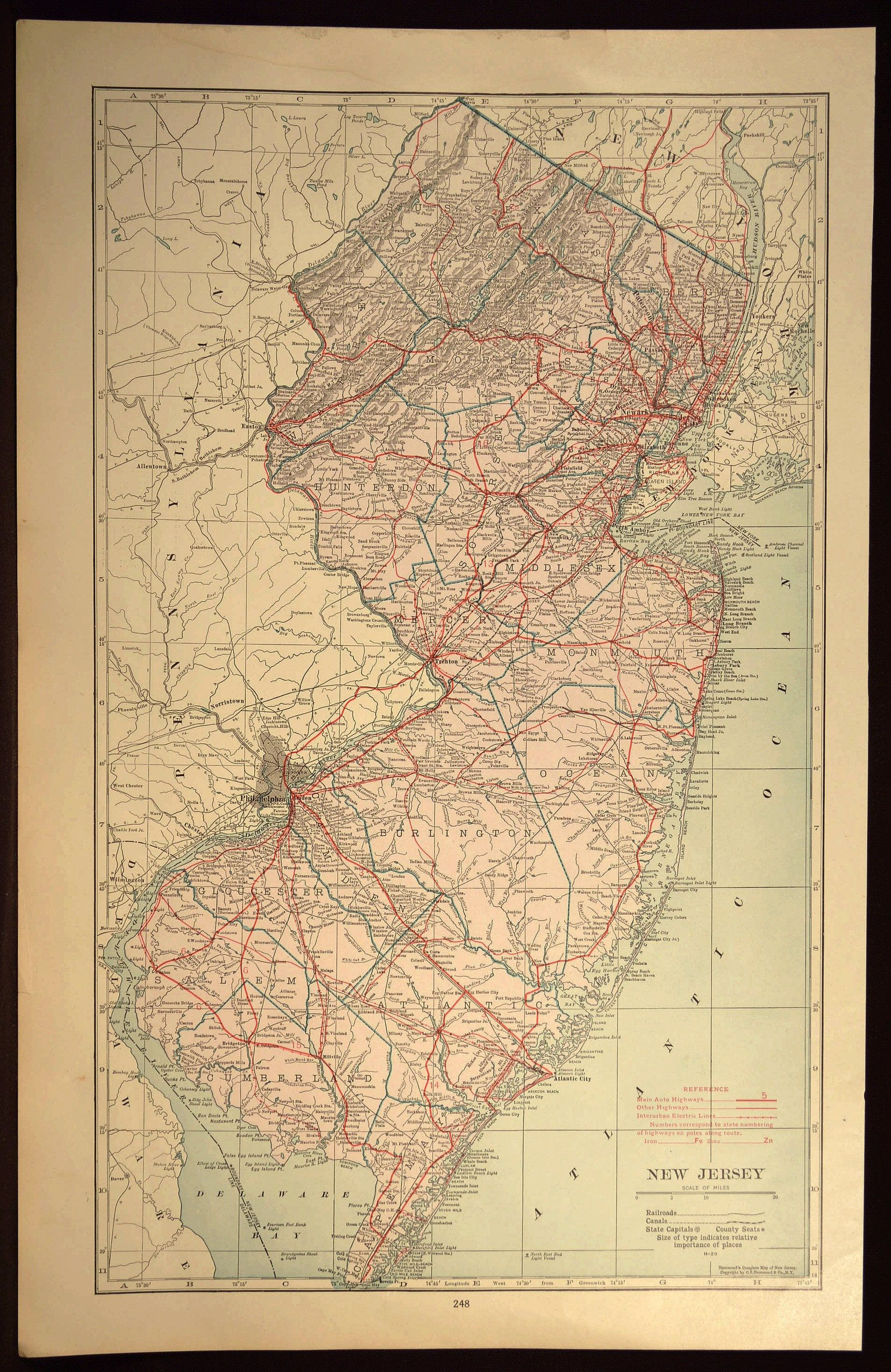 New Jersey Map LARGE New Jersey Road Map Highway Wall Art | Map Wall ...