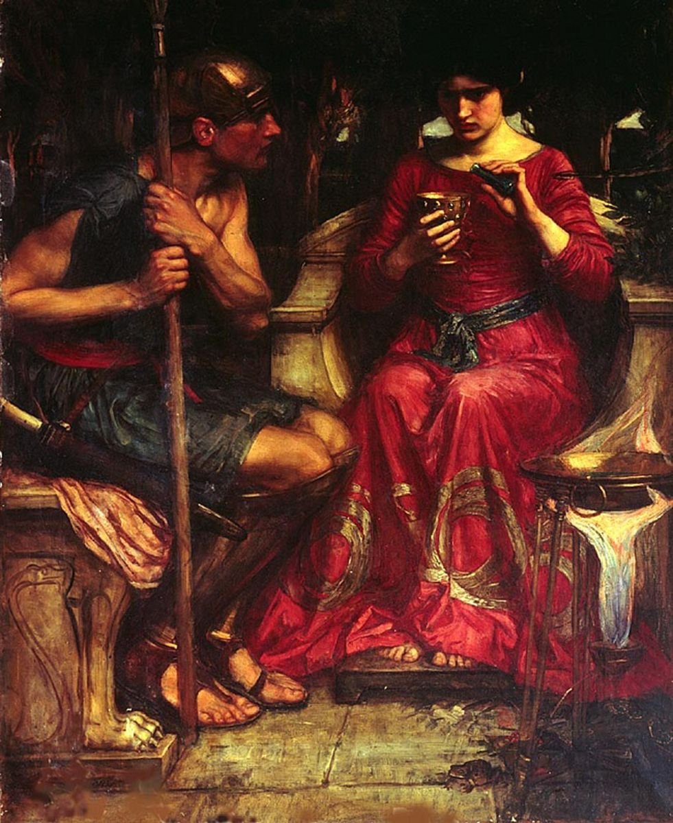 John William Waterhouse (6 April 1849 — 10 February 1917)  Jason and Medea  Oil on canvas, 1907  134 cm × 107 cm (53 in × 42 in)  Private collection