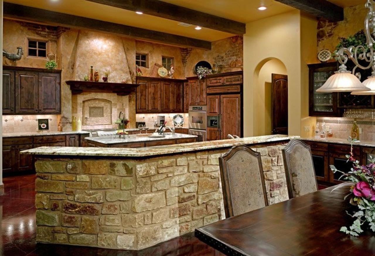 Beige Granite Italian Kitchen Backsplash With Stone Kitchen Island