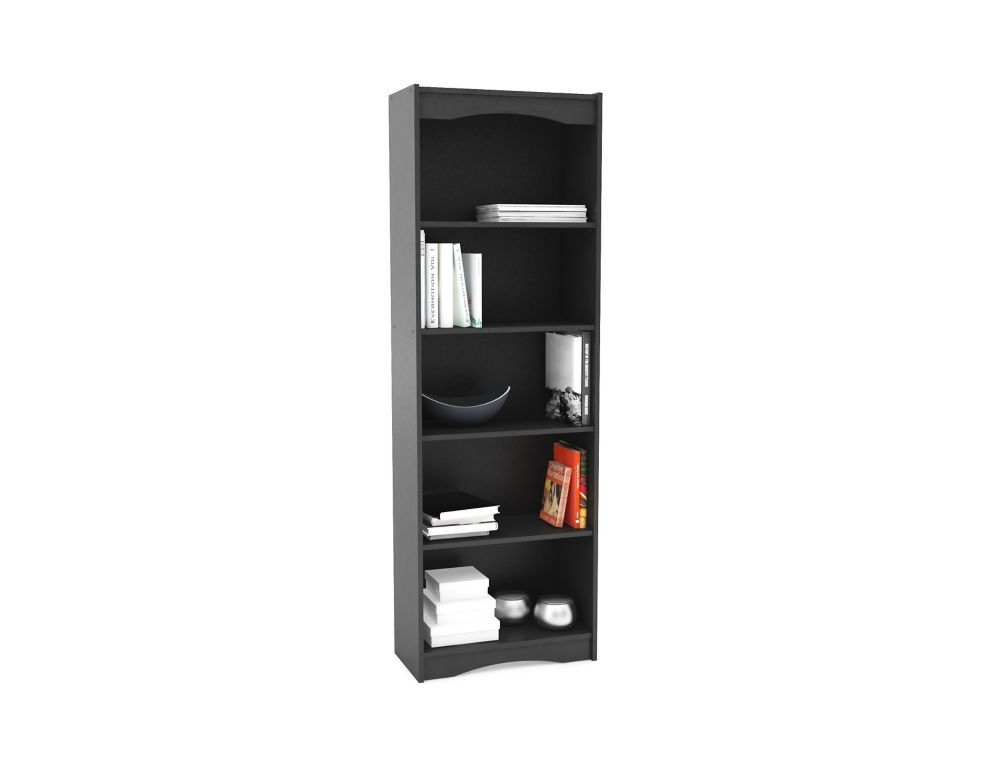 24 Inch X 72 Inch X 12 Inch 5 Shelf Manufactured Wood Cubed Bookcase In Black Tall Bookcases
