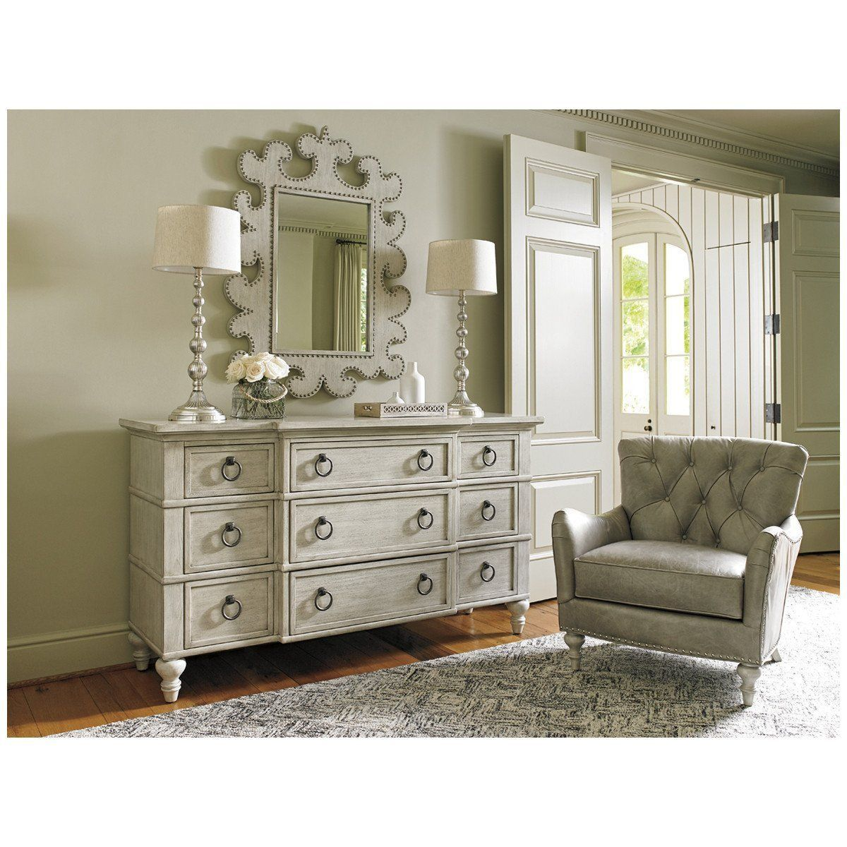 Lexington Oyster Bay Wescott Leather Chair Dresser with