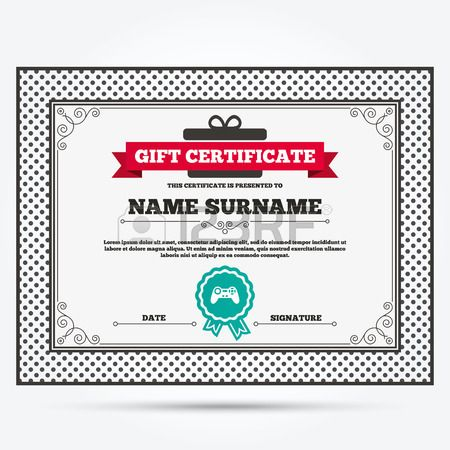 Gift Certificate Joystick Sign Icon Video Game Symbol Template With
