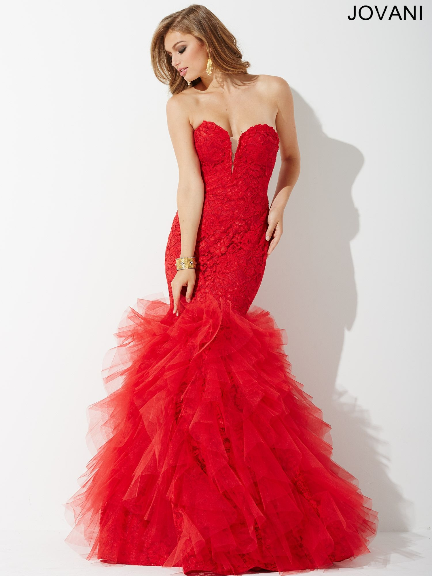 835a18c55ebd9 Stunning Strapless Lace Mermaid Gown features Sweetheart Neckline and  Ruffle Bottom JP37478