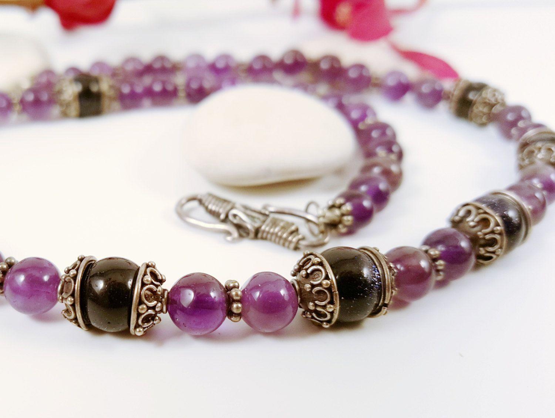 Sterling Necklace Amethyst Goldstone Elegant Gemstone 15th Wedding Anniversary Boho Beaded