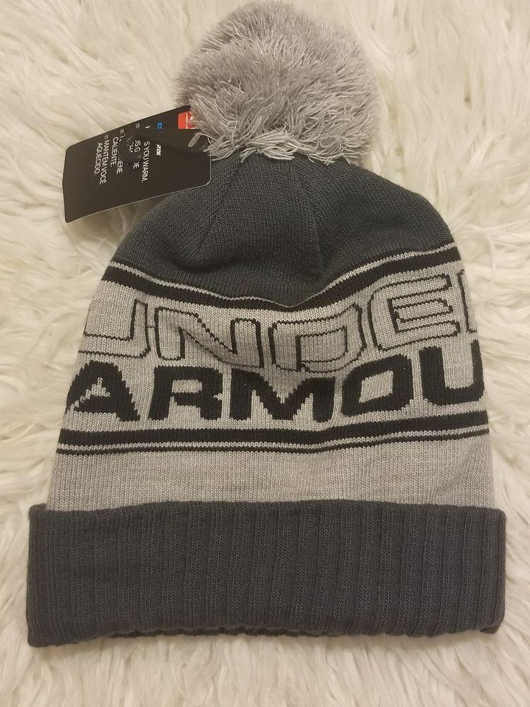 Under Armour Mens Retro Pom Beanie Classic top Woven UA Logo True Gray  1283110  UnderArmour f245d312b2