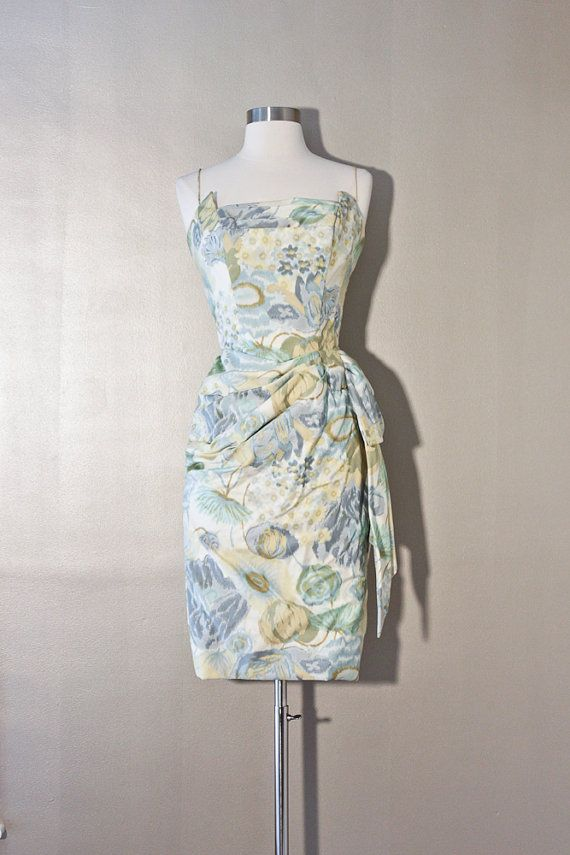 1950S Silk Wiggle Dress Painted Pastel by SalvatoCollection, $323.95