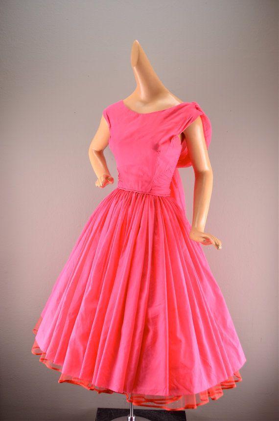 1950s chiffon dress vintage party dress 50s mad men dress hot pink ...
