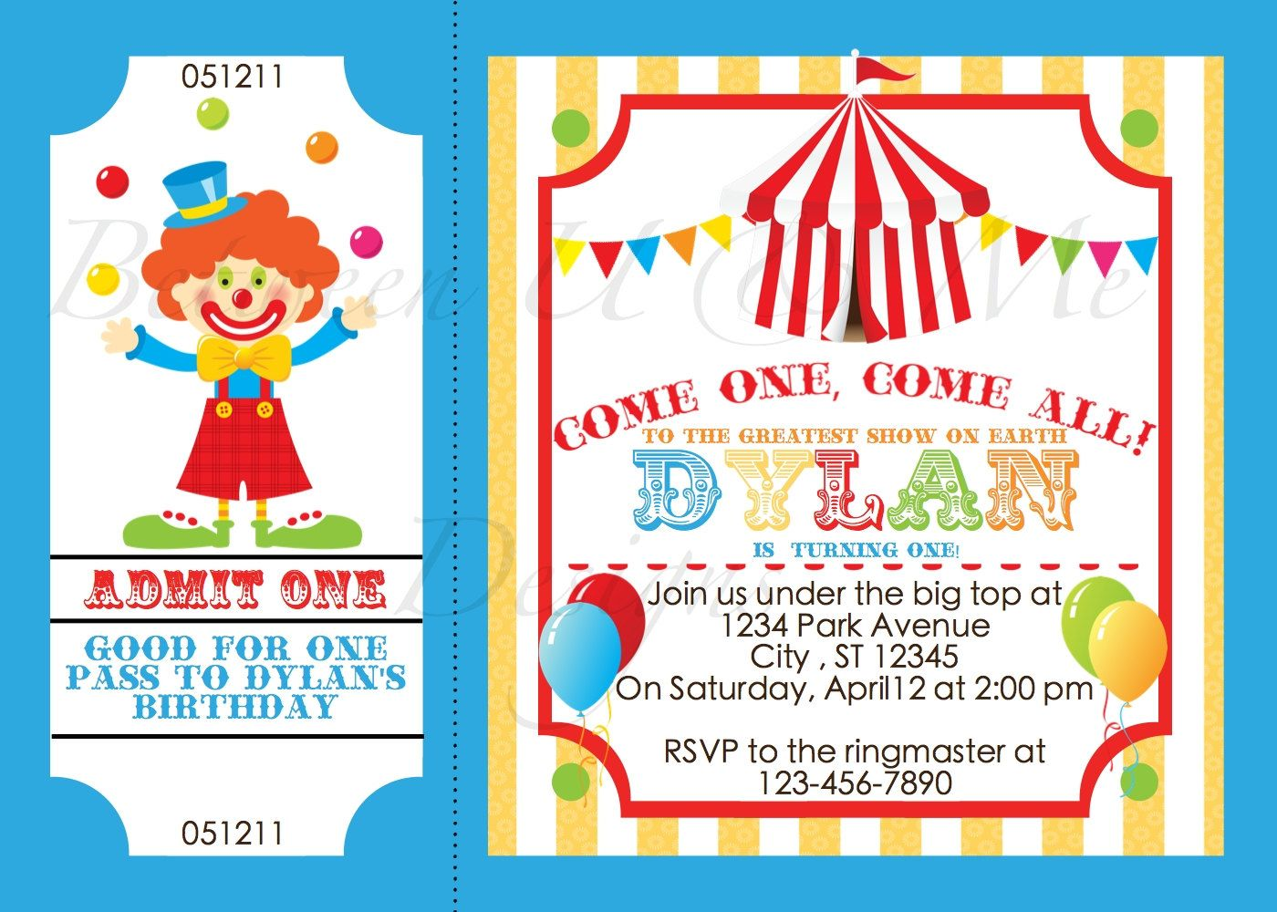 Personalized Carnival Circus Clown Birthday Party Invitation Printable Digital File