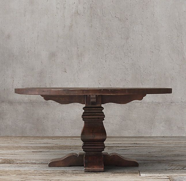 Salvaged Wood Trestle Round Dining Table Salvaged Brown Dining