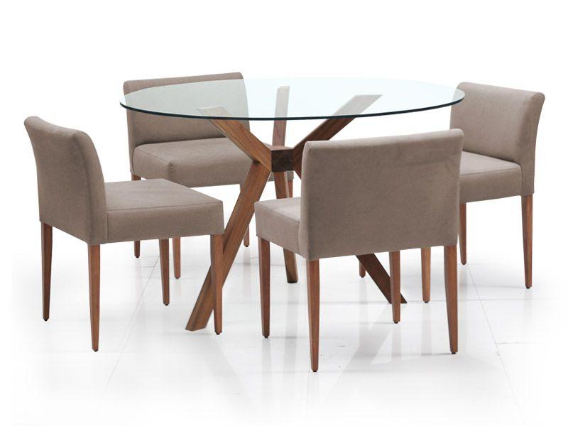 Set 1 base bracciano cristal circular 4 sillas for Comedores redondos de vidrio