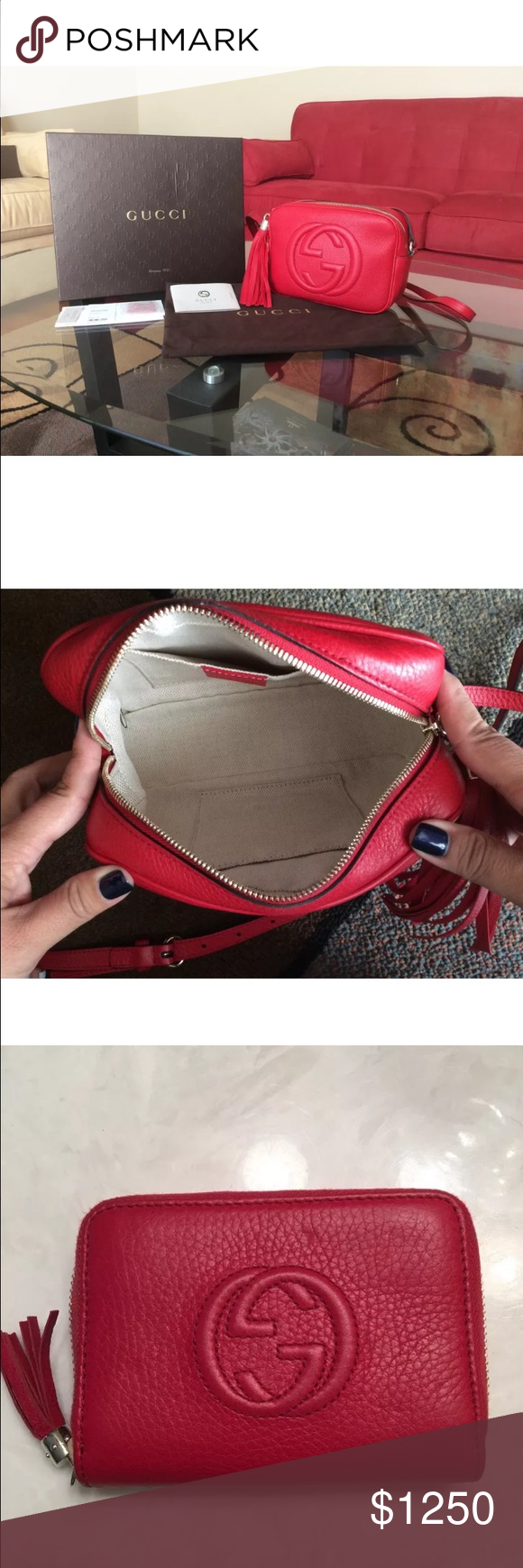 8f1b50b952a6be GUCCI SOHO DISCO BAG AND SOHO WALLET IN RED Disco soho bag is all over  fashion
