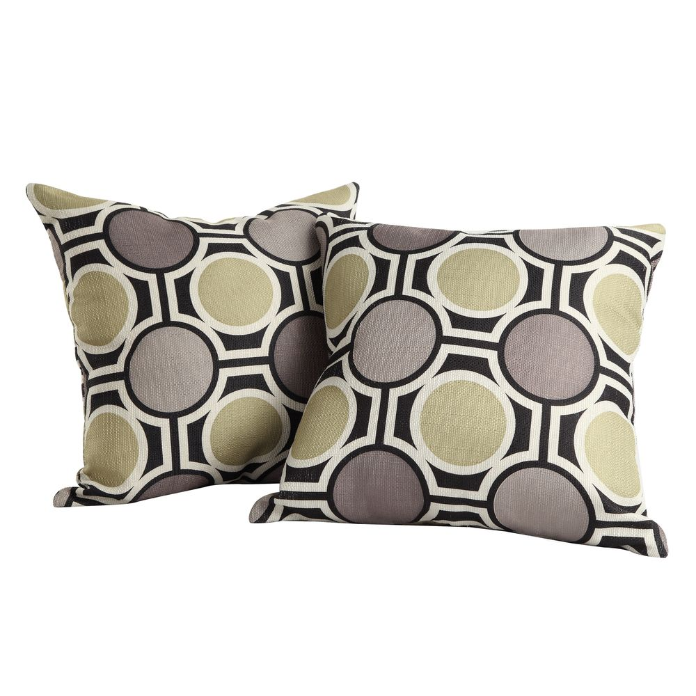 Inspire Q Kayla Polka-dot Print Fabric Square Throw Pillows (Set of 2)