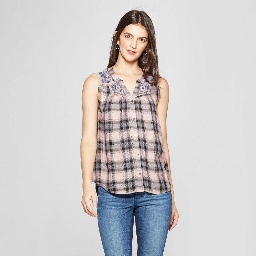 Keep comfy while making a stylish impression anywhere you go wearing the  Plaid Embroidered Tank Top from Knox Rose. Constructed from 100 percent  rayon this ... fd79db43e