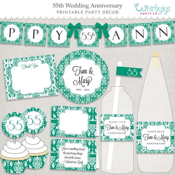 Diy 55th Emerald Anniversary Party