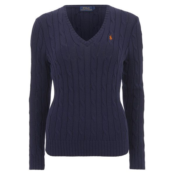 b43eb3454 Polo Ralph Lauren Women s Kimberly Jumper - Hunter Navy ( 155) ❤ liked on  Polyvore featuring tops