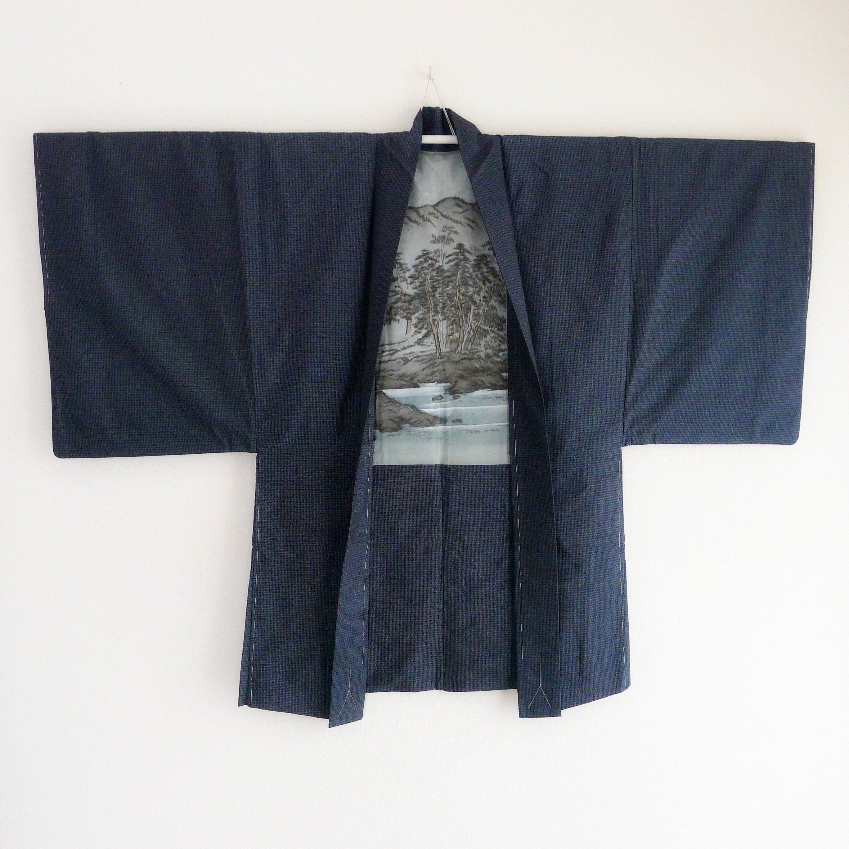 Blue Men Kimono jacket MINT, oshima tsumugi silk