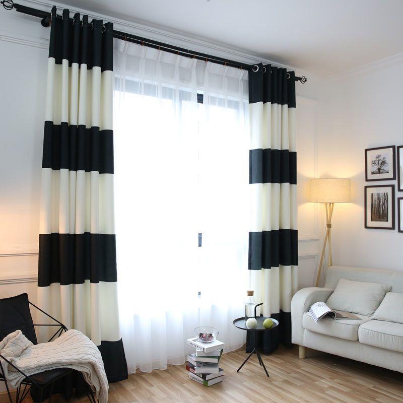 Come arredare un soggiorno moderno e cambiare il look al salotto. White Black Splicing Striped Blackout Curtains For The Bedroom Cotton Linen Modern Curtains For Living Room Wi In 2021 Curtains Living Room Striped Room White Curtains