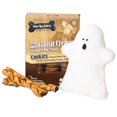 Treats and toys for your furry, little monters!  Growl-o-ween Treats and Ghost Gift Set