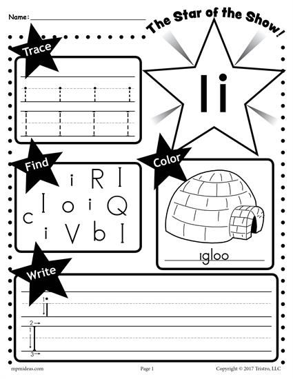 Free Letter I Worksheet Tracing Coloring Writing More