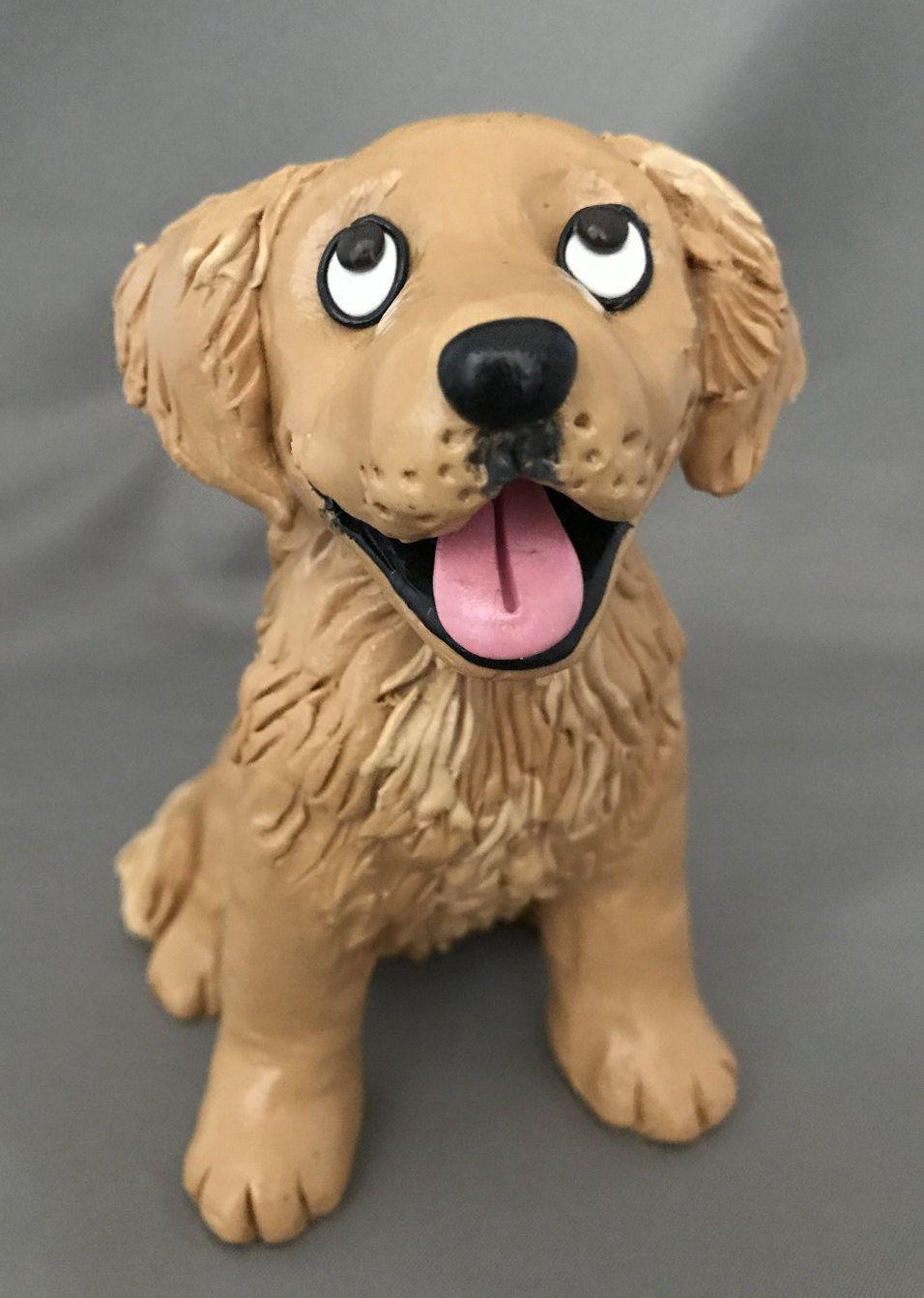 Golden Retriever Dog Figurine By Houndsofhope On Etsy Polymer