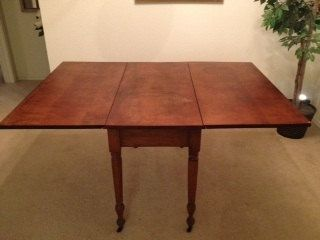 """Antique Drop Leaf Table $435.00 FOR SALE 29 1/2"""" tall, 42""""wide, 21"""" when folded, approx. 60"""" when extended."""