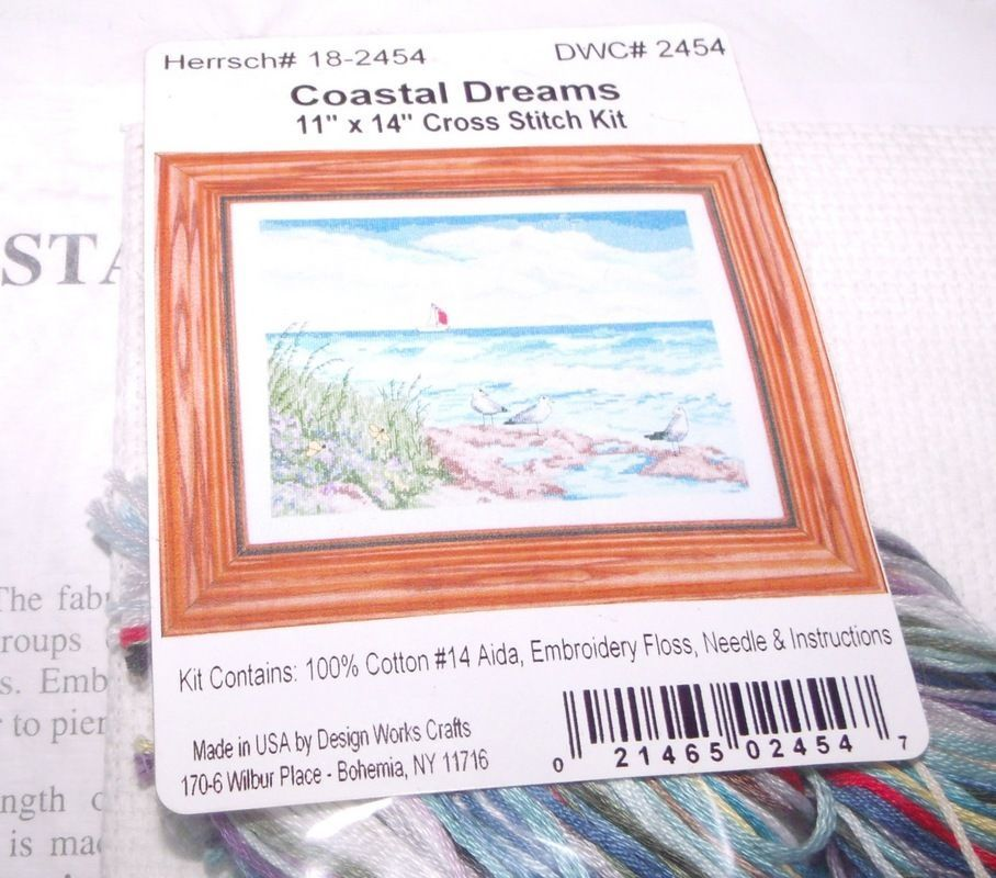 "Design Works COASTAL DREAMS Counted CS Kit Hard to Find 11"" x 14"""