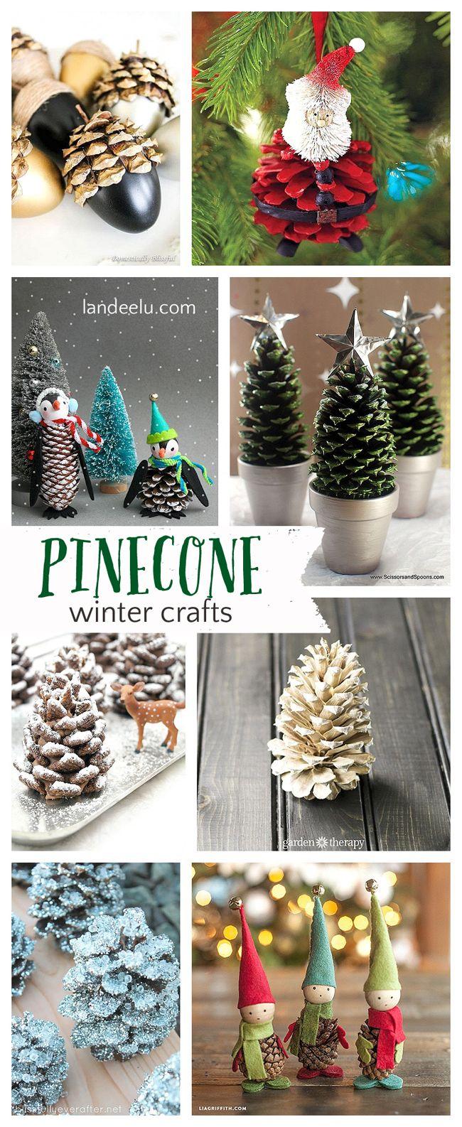 Craft Pretty Winter Crafts using Pinecones