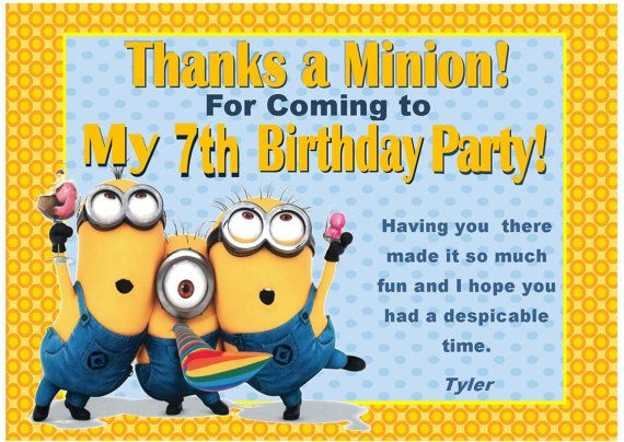Despicable Me Inspired Thank You Card Minions Invitation 1st – Despicable Me Birthday Card