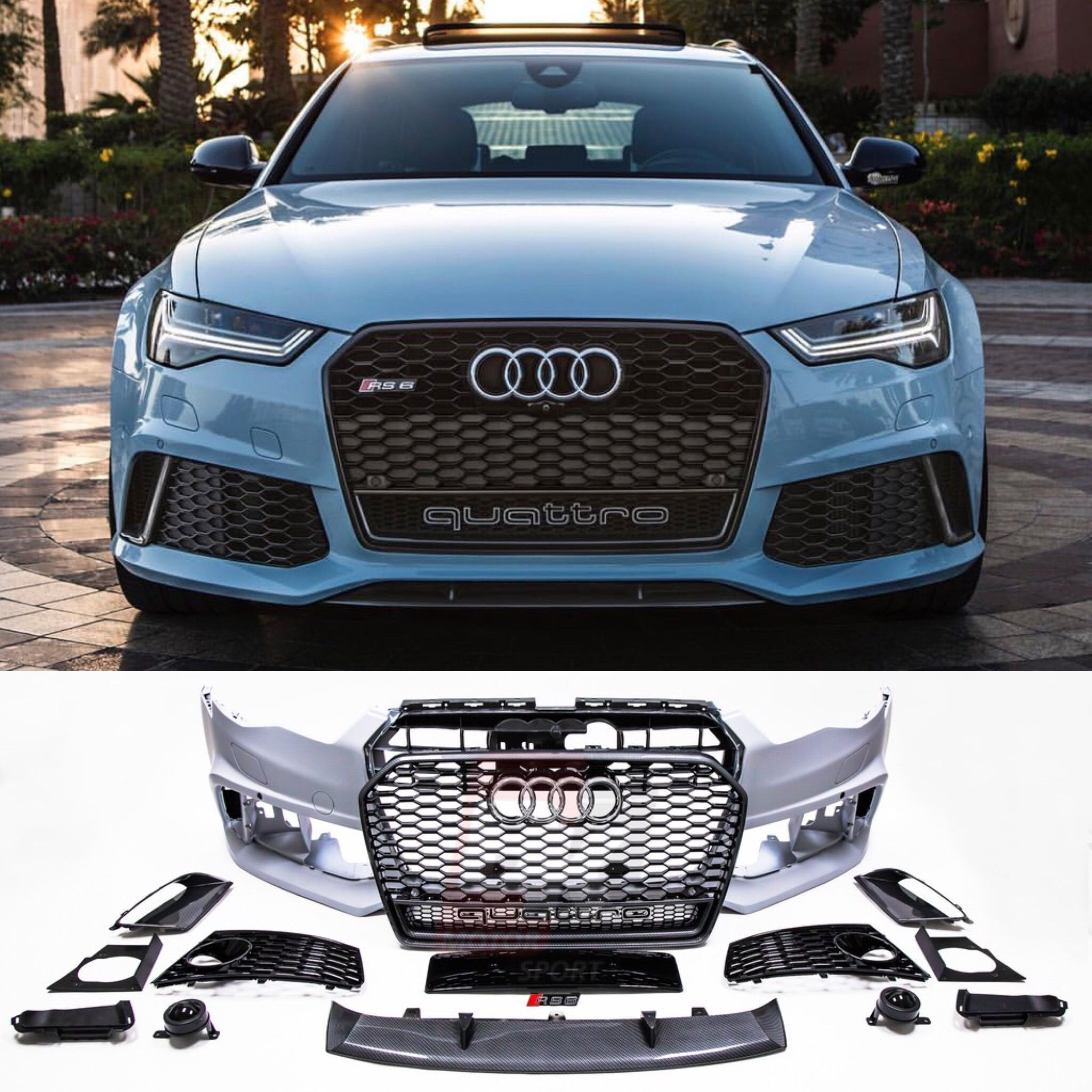 BKM Front Bumper Kit with Front Grille (RS Style - Carbon