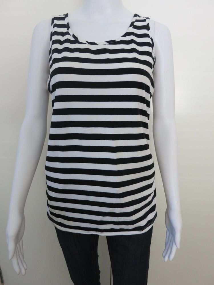 c9b376e615b2bc Maternity Top Size 10 12 Black White Stripes Sleeveless C19  NestEgg   TankCami  Casual