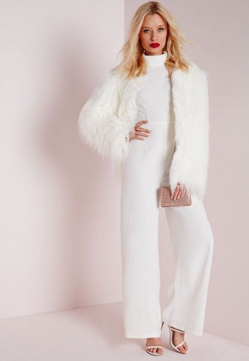 65bf1fd6f6c5 High Neck wide Leg Jumpsuit White - Jumpsuits - White - Missguided