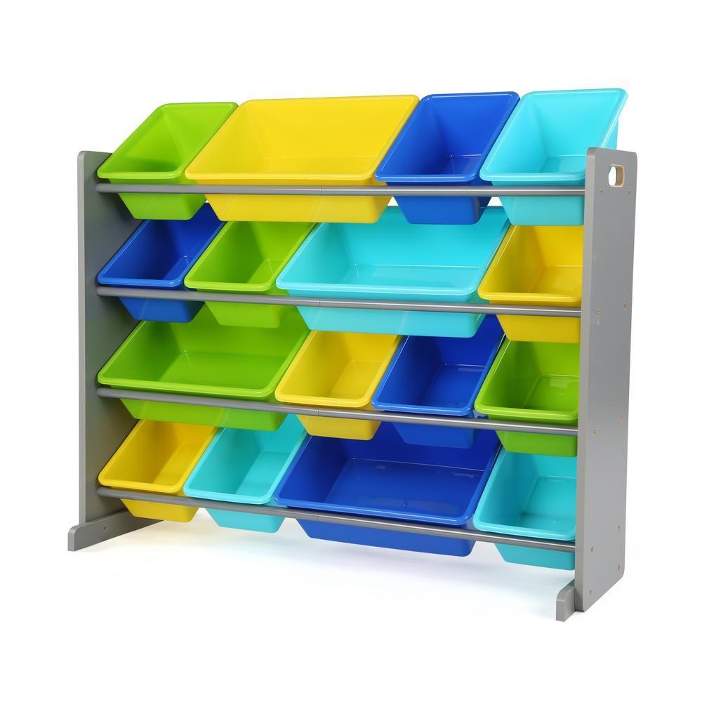 Tot Tutors Elements Grey Multi Super Sized Toy Organizer With 16 Plastic Bins In 2019 Plastic Bins Toy Organization Toy Storage Boxes