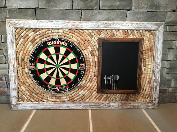 White Distressed Wine Cork Dartboard Backer Scoreboard 49 X 29 Room Décor Dartboar
