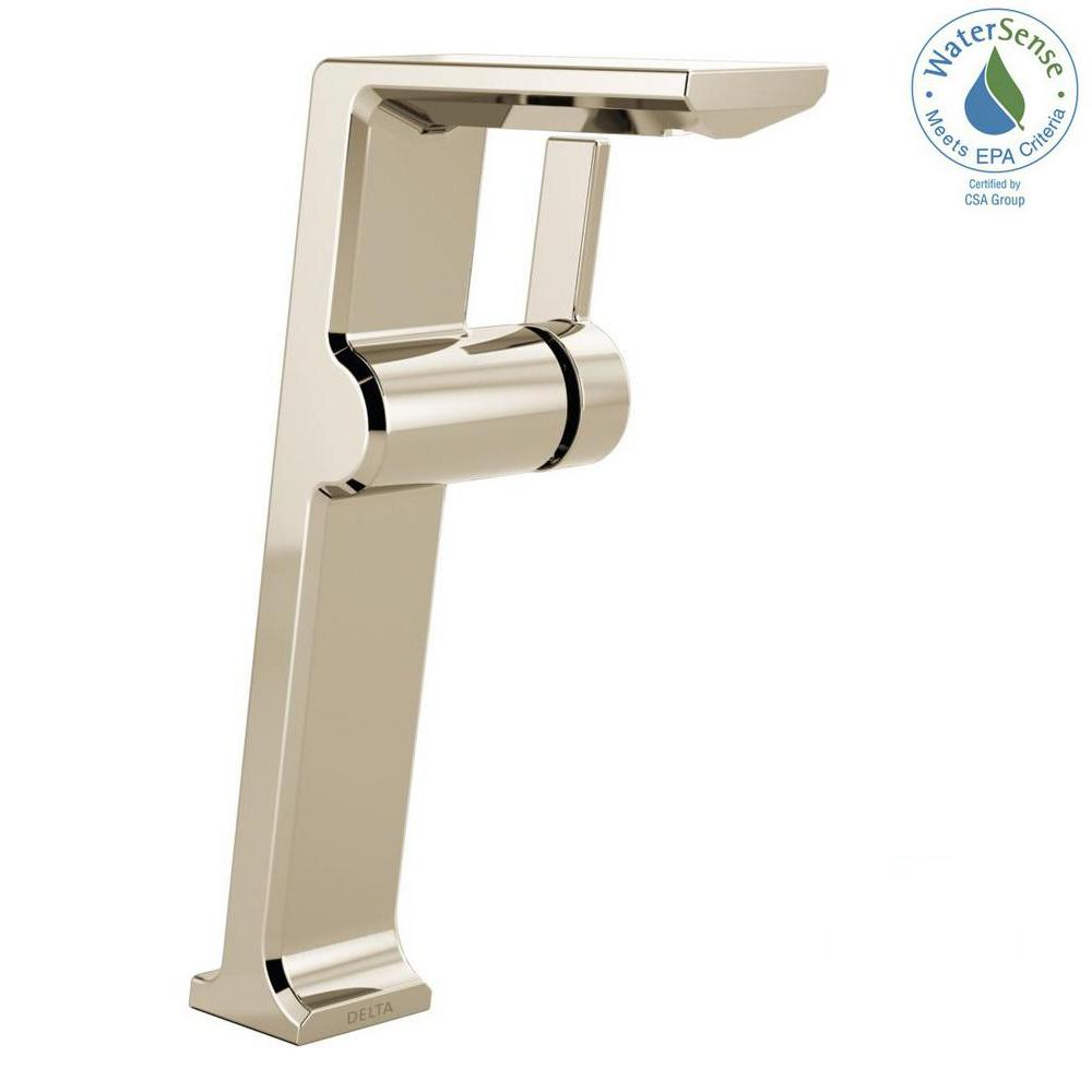 Delta Pivotal Single Hole Single Handle Vessel Bathroom Faucet In Chrome Grey Bathroom Faucets Faucet Polished Nickel