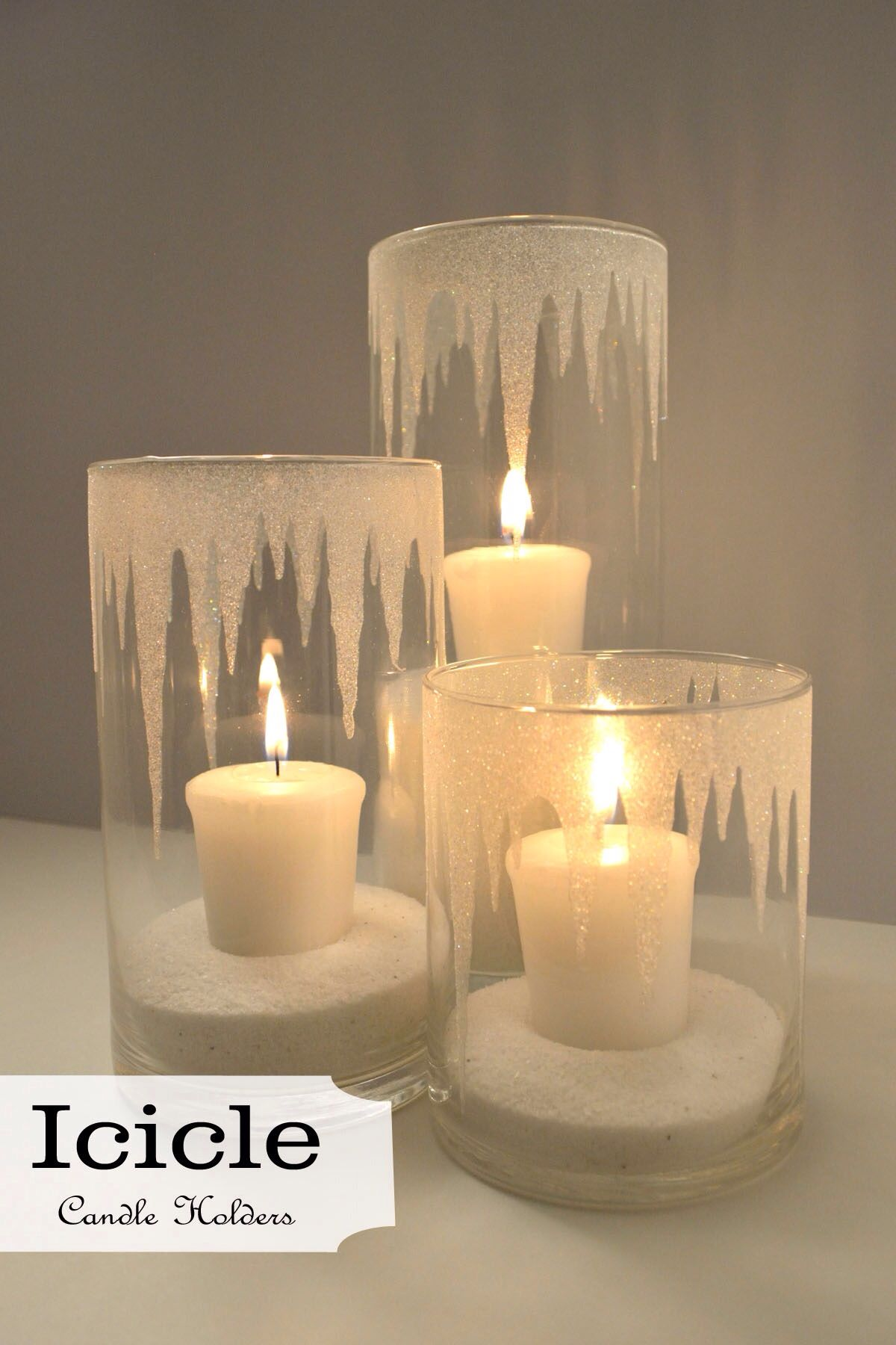 Iced candle holders. Epsom salt crystals inside and frosted glass ...