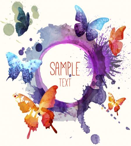 تصميم اطار فراشات مرسومه بالوان مائية جميله ملف مفتوح Butterfly Watercolor Butterfly Background Watercolor Art Journal