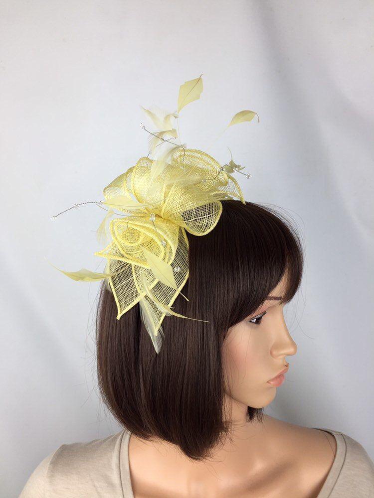 Elegant Headband and Clip Yellow Fascinator Wedding Races Royal Ascot Occasion