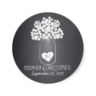 Chalkboard Design Mason Jar Personalized Favor Stickers - for all your wedding needs
