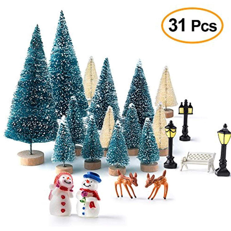 Kuuqa Mini Assorted Pine Trees Bottle Brush Trees With Snowmen,