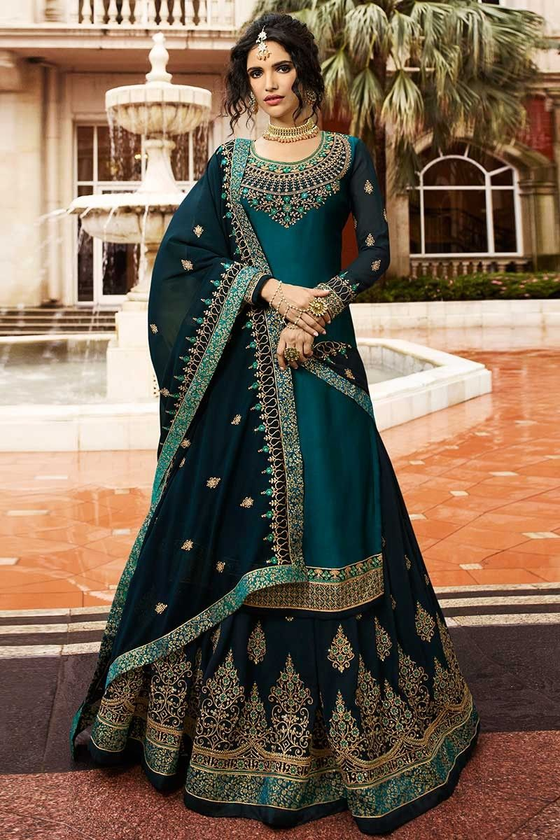 Buy Peacock Blue Satin Georgette Straight Kameez With